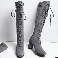 Women High Boots Sexy Fashion Boots Lace Up High Heels Woman Shoes Coarse Heels Grey