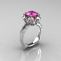 FANCY 1.54CT PINK ROUND CUT STUD 925 STERLING SILVER ENGAGEMENT RING FOR HER