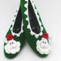 santa claus christmas slippers,  Christmas slipper with Santa Claus , home slippers, yoga, healthy, shoes Gift for christmas, OOAK