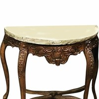 Mogul Interior Indian Wood Stone Console Table Handcrafted Cabriole Legs Table