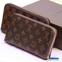 LV Louis Vuitton Classic Printed Letters Zipper Long Wallet Clutch Bag