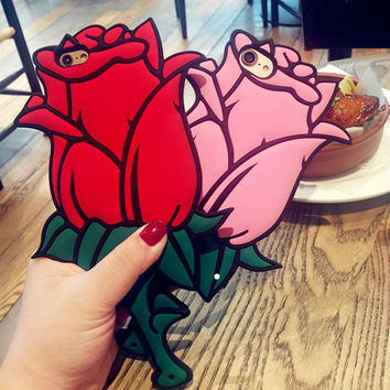 Valentine Gift 3D Rose Flower Romantic Coque Soft Silicon Phone Back Cover Case For iPhone 7 Plus 6 6S 6 Plus 5 5S SE 5C Sleeve