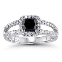 0.60 ct Black Princess cut solitaire sterling silver wedding ring with free ship