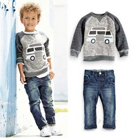 Kids Tales JYT-191 baby boys clothes children kids boys long sleeves sets casual handsome design  t shirts and jean pants wear