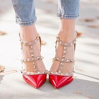 Valentino Fashionable Women Sexy Rivet Pointed Sandals Shoes High Heels Red