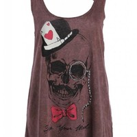 Purple Poker Skull Loose Fit Tank Top with Slashed Back