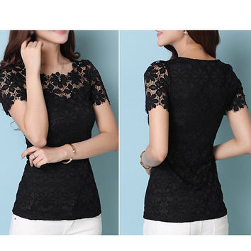 Casual Lace Floral Sheer Blouse