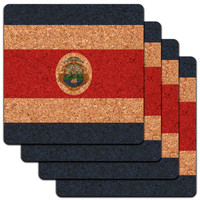 Costa Rica National Country Flag Low Profile Cork Coaster Set