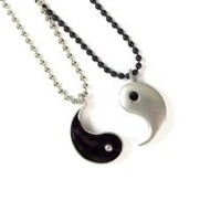 Friendship Pewter Yin Yang Pendants on Ball Chain Necklaces