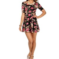 BlackPink Floral Skater Dress
