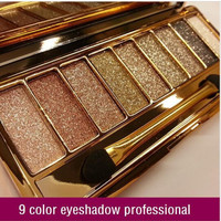 New women 9 colors diamond bright colorful makeup eye shadow super make up set flash Glitter eyeshadow palette with brush