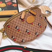 GUCCI & Disney New fashion mouse more letter leather shoulder bag crossbody bag