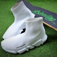 PEAPNW6 Balenciaga Speed Stretch Knit Mid Sneakers White Socks Shoes