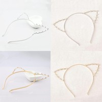 Lovely Girls Cat Ears Headbands For Women Girls Imitation Pearl Rhinestones Alloy Headbands Cute Head Band Hair Accessories