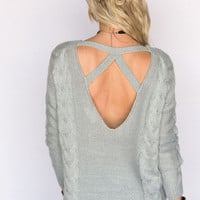 Stormy Night Open Back Sweater