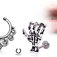"(2pcs) Zombie Claw Labret 16G 5/16"" and Tribal Swirls Non-Piercing Septum Hanger #001"
