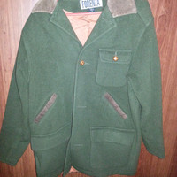 Vintage 70s Wool Green and Brown Jacket by FORENZA Size 8