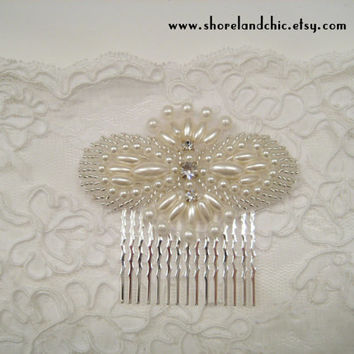 The Louise (hair comb) - 1920s wedding comb, Downton hair comb, pearl 1920s bridal hair comb, crystal pearl bridal comb