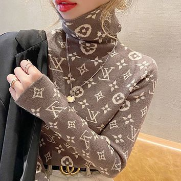LV High collar, thick sweater, Jersey, 2021 new style knitted jackets in autumn and winter.