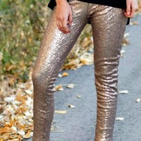 Rose Gold Glam Sequin Leggings