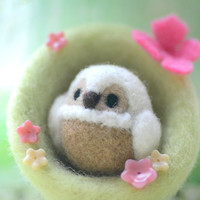 Handmade owl in nest home decor ornament, needle felted owl and nest, soft sculpture bird doll, bird nest with pink butterfly, gift under 25