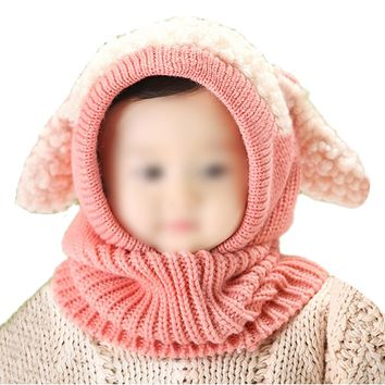 2017 NEW Lovely Baby Girl Boy Knitted Crochet Winter Hats Puppy Dog Beanie Caps Pink