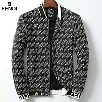 Fendi autumn and winter new men's full printed logo trend fashion loose jacket black