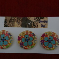 Wooden Buttons Set of 3 with Blue Flower Design