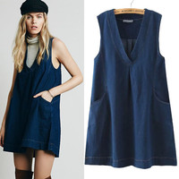 Women's Fashion V-neck Sleeveless Denim One Piece Dress [4976792452]