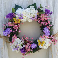 Butterfly Wreath, Beautiful Purple Butterfly Wreath, Butterfly Home Decor, Wedding Gift, Butterfly Gifts, Gifts for her, Country Floral