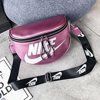 NIKE Fashion New Hook Letter Print Leather Women Men Crossbody Leisure Shoulder Bag Purple