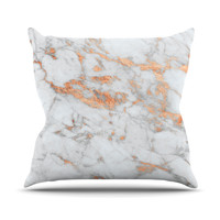 "KESS Original ""Rose Gold Flake"" White Pink Throw Pillow"