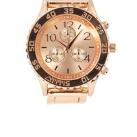 Rose Gold Oversized Rose Gold Watch by Charlotte Russe