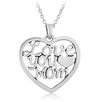 "925 Sterling Silver ""Love You Mom"" Heart Mother's Day Pendant Necklace, 18 inches"
