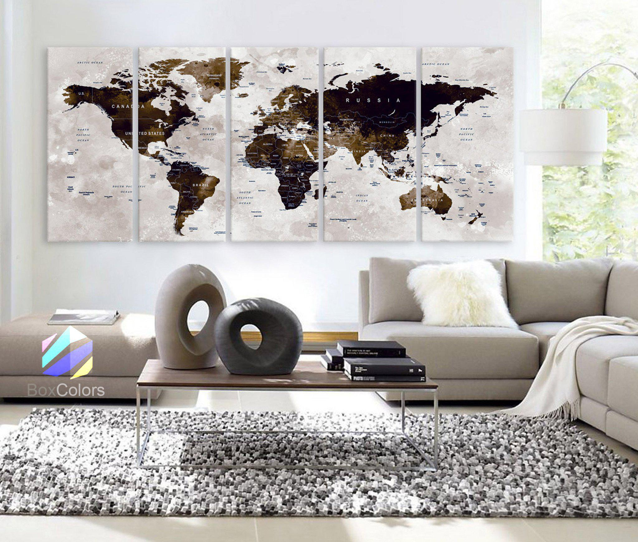 """Image of XLARGE 30"""" x 70"""" 5 Panels Art Canvas Print Watercolor Map World Push Pin Travel Wall color Brown beige decor Home interior (framed 1.5"""" depth)"""