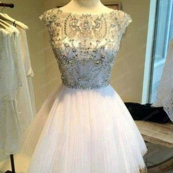 New Short Mini Beaded Girl's Homecoming Dress Cocktail Prom Party Evening Dress