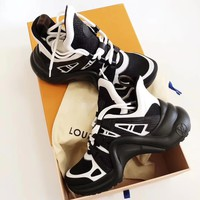 Louis Vuitton Women Sneakers Polylines Vintage Sports Shoes B-CSXY  Black