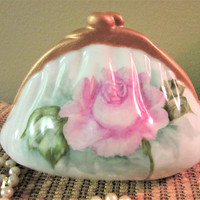 Banks Piggy Purse Coin Girl Porcelain Ceramic Pottery Pink Rose Hand Painted blm