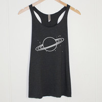 Planet Saturn Tank Top - Space Galaxy and Stars Tumblr Shirt - Space Tee Planets and Solary System - Celestial - Present and Gift