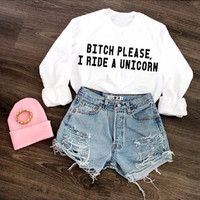 Bitch Please I Ride A Unicorn Women's Casual Black Gray Pink & White Crewneck Sweatshirt