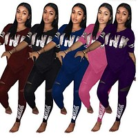 Women Casual 2 Piece Set S-Xxxl Pink Letter Print Sexy Sweatsuit Plus Size Tops+Skinny Pants Sweat Suits Two Piece Tracksuit