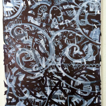 Steampunk Art Modern Abstract Art 16x20 Black and White Art, Geometric Art, Painting on Canvas, Canvas Wall Art, Tribal Art, Urban Art