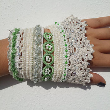 Sambucus Racemosa:,Beaded Crochet Bracelet ,turquoise blue and emerald green beaded flowers and, Flowerscrocheted lace,