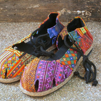 Vegan Womens Espadrilles With Ankle Wrap, Patchwork Hmong Embroidery Shoes, Dahlia Wrap
