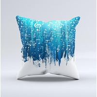 Dripping Blue White Music Notes ink-Fuzed Decorative Throw Pillow