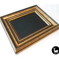 Black Mirror with Gold and Black Frame: Scrying Mirror