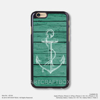 Anchor on green wood iPhone 6 6Plus case iPhone 5s case iPhone 5C case iPhone 4 4S case Samsung galaxy Note 2 Note 3 Note 4 S3 S4 S5 case 144