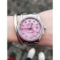 Rolex Fashion Couple Retro Diamond Quartz Watch Wristwatch Pink I/A