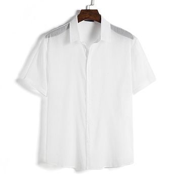 Men's Top Pure White Short Sleeves Shirts