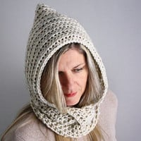 Women crochet pixie hat with buttoned cowl chunky hood in oatmeal winter fashion, Leto with one button